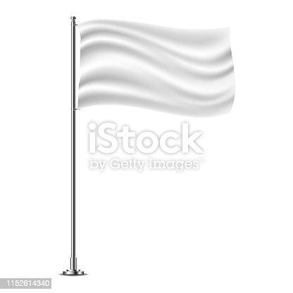 White horizontal flag on flagpole flying in the wind, isolated on white background.