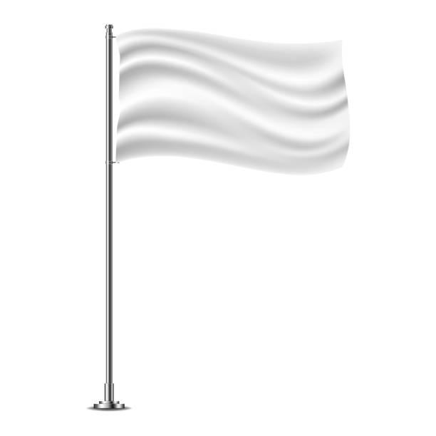 White horizontal flag on flagpole flying in the wind, isolated on white background. White horizontal flag on flagpole flying in the wind, isolated on white background. flagpole stock illustrations