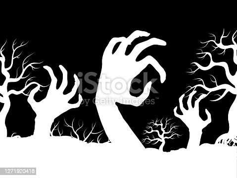 istock White horror zombi hands and tree silhouettes vector 1271920418