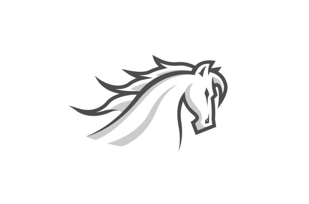 weißes pferd logo - mustangs stock-grafiken, -clipart, -cartoons und -symbole