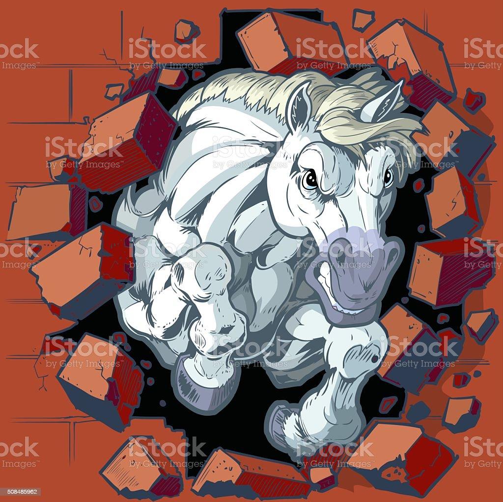White Horse Mascot Crashing Through Wall Vector Illustration vector art illustration