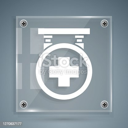 White Hospital signboard icon isolated on grey background. Square glass panels. Vector Illustration