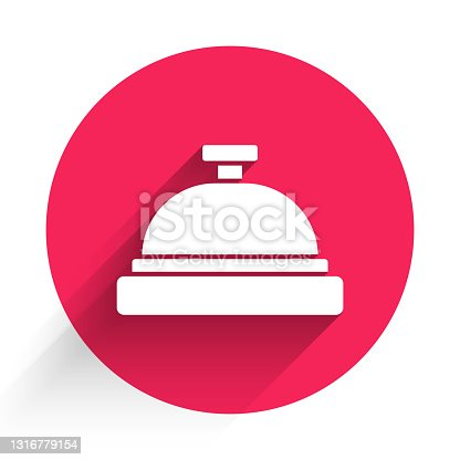 istock White Hotel service bell icon isolated with long shadow. Reception bell. Red circle button. Vector 1316779154