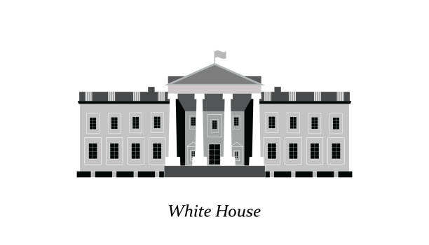화이트 하우스의 외관 - white house stock illustrations