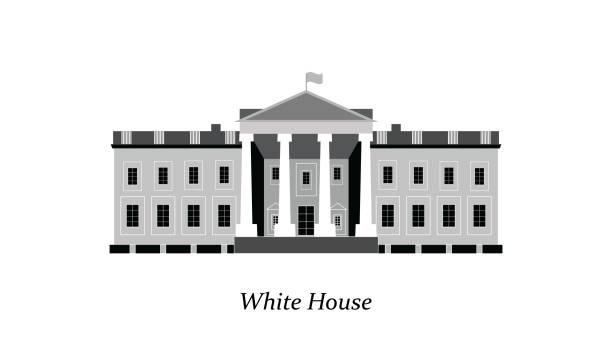 white house facade. - white house stock illustrations