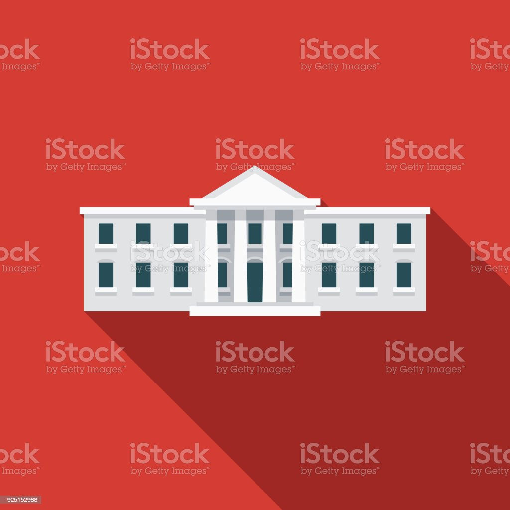 White House Flat Design USA Icon with Side Shadow A pastel colored flat design United States of America icon with a long side shadow. Color swatches are global so it's easy to edit and change the colors. American Culture stock vector