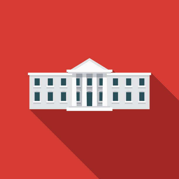 White House Flat Design USA Icon with Side Shadow A pastel colored flat design United States of America icon with a long side shadow. Color swatches are global so it's easy to edit and change the colors. white house stock illustrations