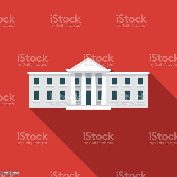 White House Flat Design Usa Icon With Side Shadow Stock Illustration - Download Image Now