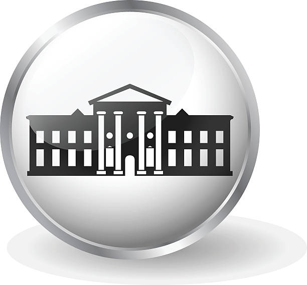 white house icon button vector - white house stock illustrations