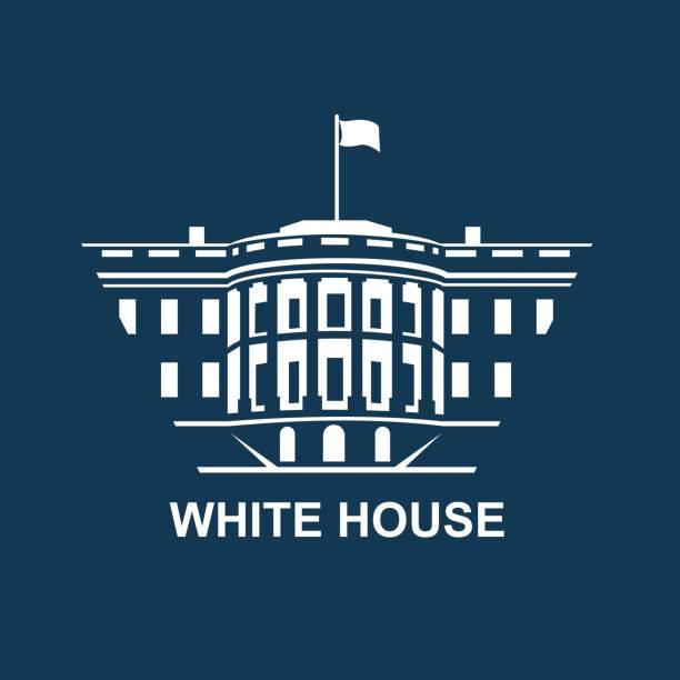 white house icon white house building icon in Washington DC us president stock illustrations