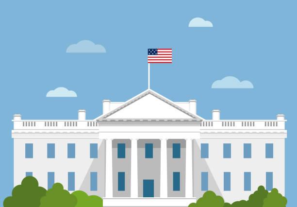 stockillustraties, clipart, cartoons en iconen met white house in platte vectorillustratie usa. washington dc. capitol - white house