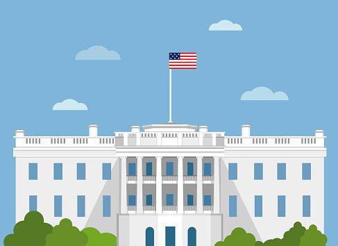 White house in usa vector flat illustration. Washington DC. CAPITOL