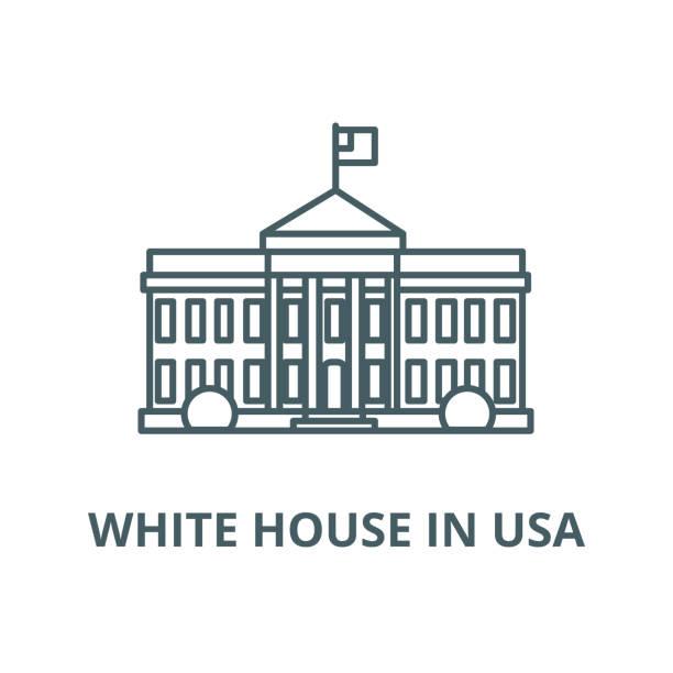 белый дом в сша векторной линии значок, линейная концепция, знак контура, символ - white house stock illustrations