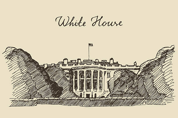 White House in Washington DC hand drawn sketch White House in Washington DC engraved vector illustration hand drawn sketch white house stock illustrations