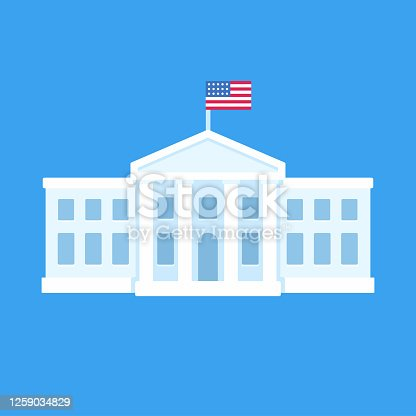 White House in Washington DC, official residence of the president of the United States. Flat vector illustration, simple cartoon style clip art.