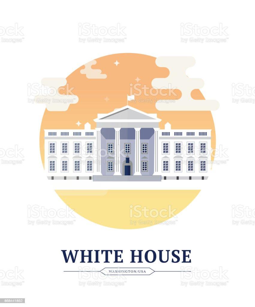White House vector art illustration