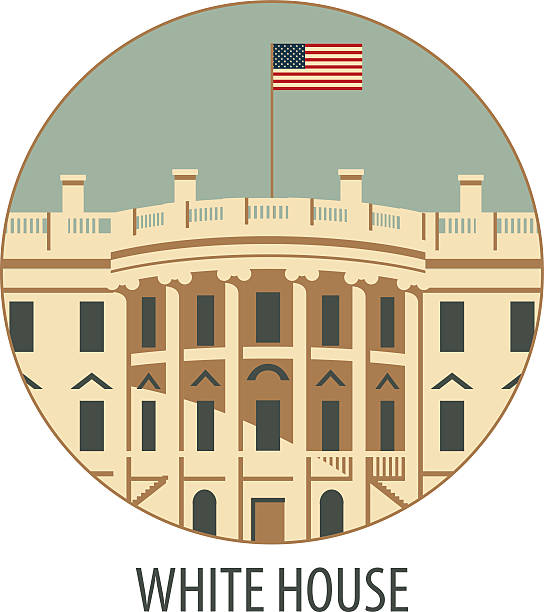white house washington dc vector illustration white house washington dc with flag white house stock illustrations