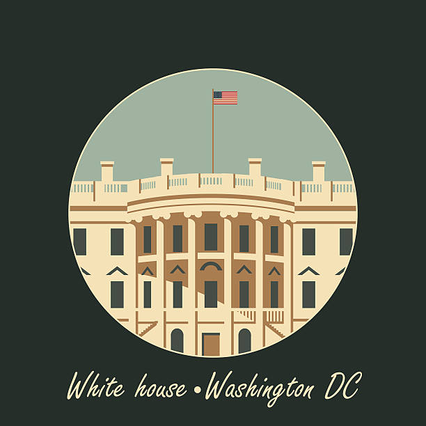 белый дом в вашингтоне, округ колумбия с флагом - white house stock illustrations