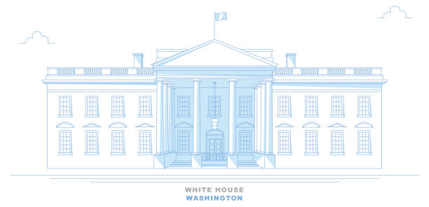 White House, Washington, stylized, freehand design. Usa White House, Washington, stylized, freehand design. Front view of the White House. United States white house stock illustrations