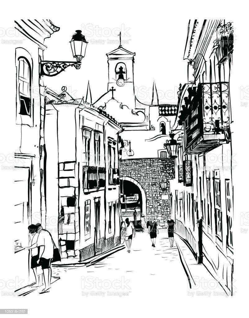 Maisons blanches dans la vieille ville de Faro au Portugal - Illustration vectorielle