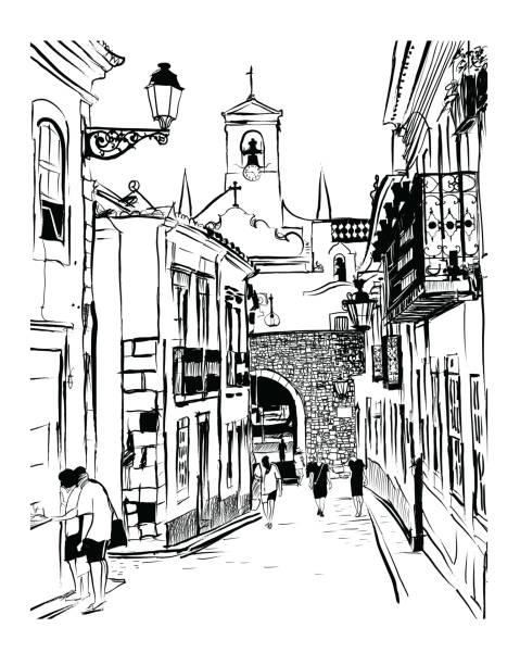 ilustrações de stock, clip art, desenhos animados e ícones de white houses in the old town of faro in portugal - algarve