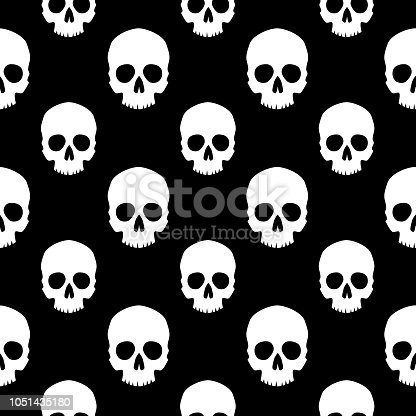 Vector seamless pattern of scary human skull heads on a black background.
