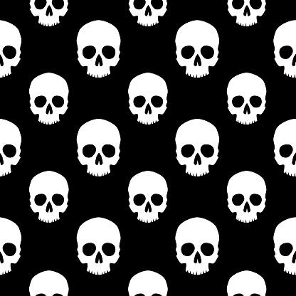 White Human Skulls Seamless Pattern