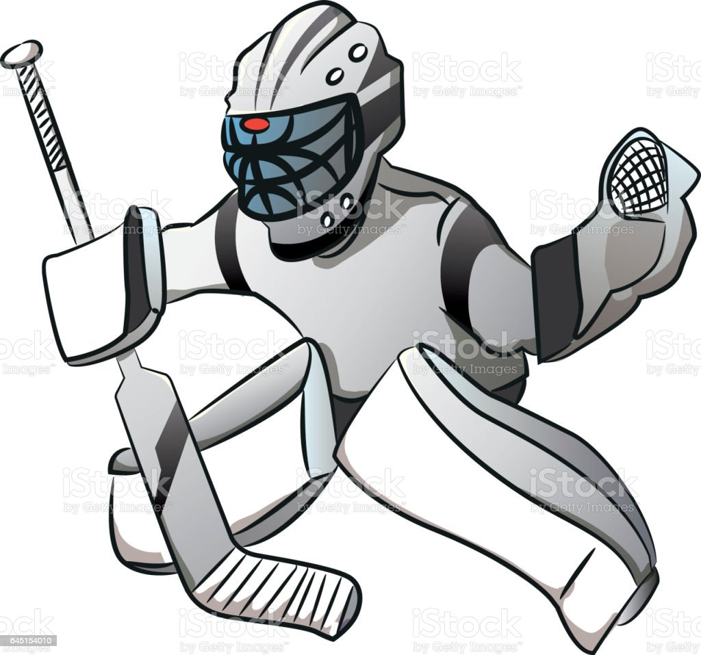 White Ice Hockey Goalie Player In Action Cartoon Style Stock Vector