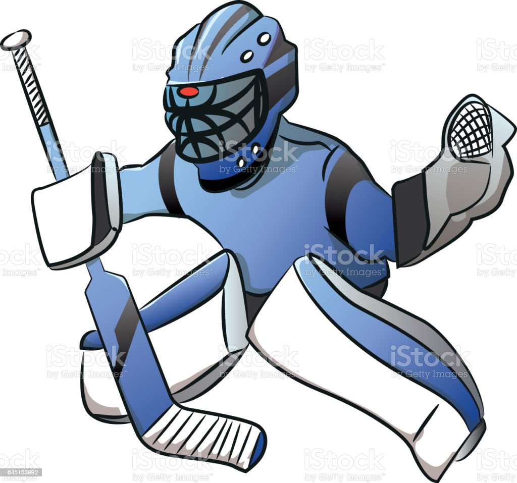 White Ice Hockey Goalie Player In Action Cartoon Stock Vector Art