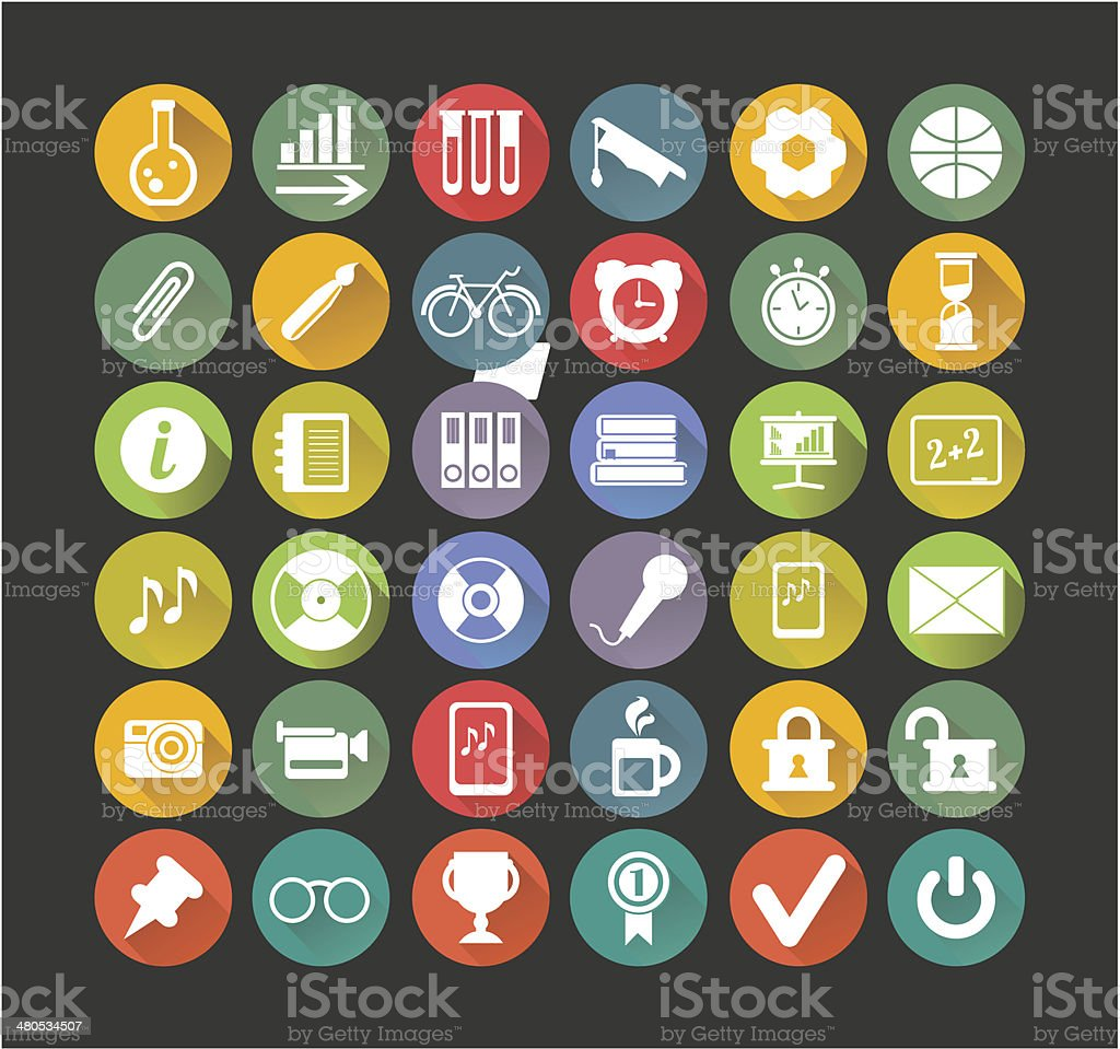 white icons education vector art illustration