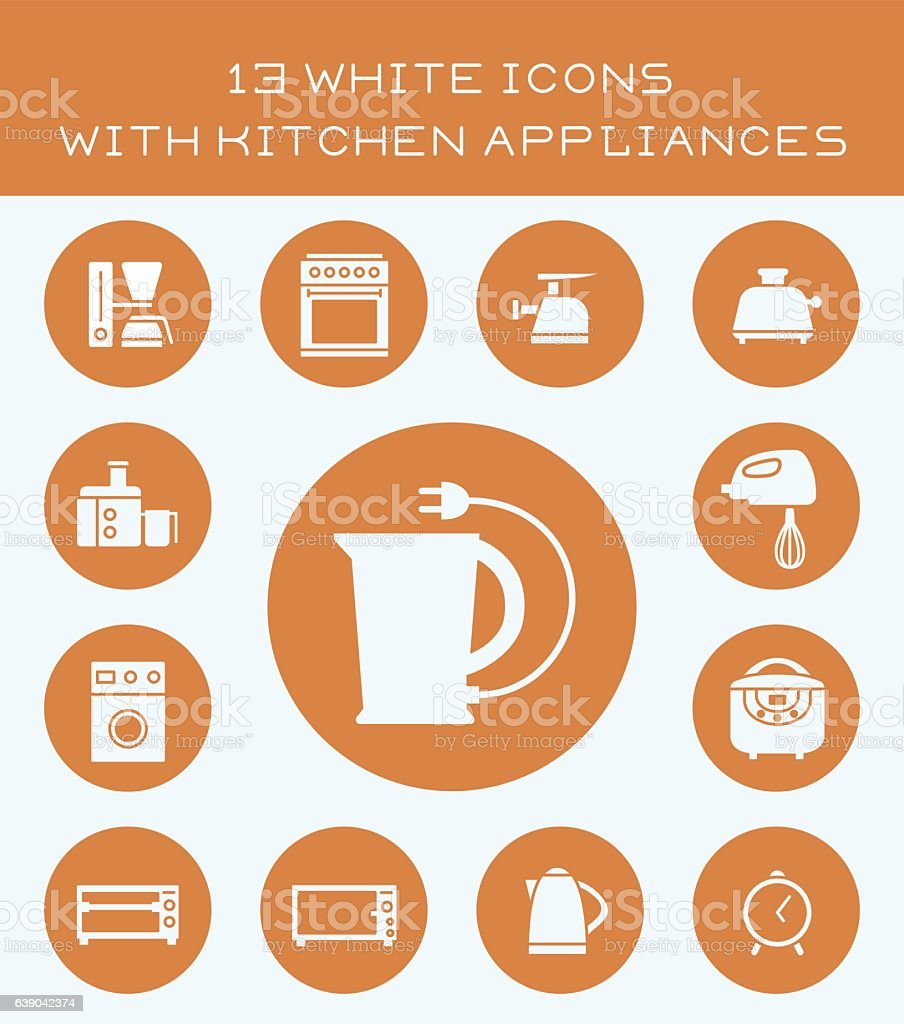 13 white icons with kitchen appliances. vector art illustration