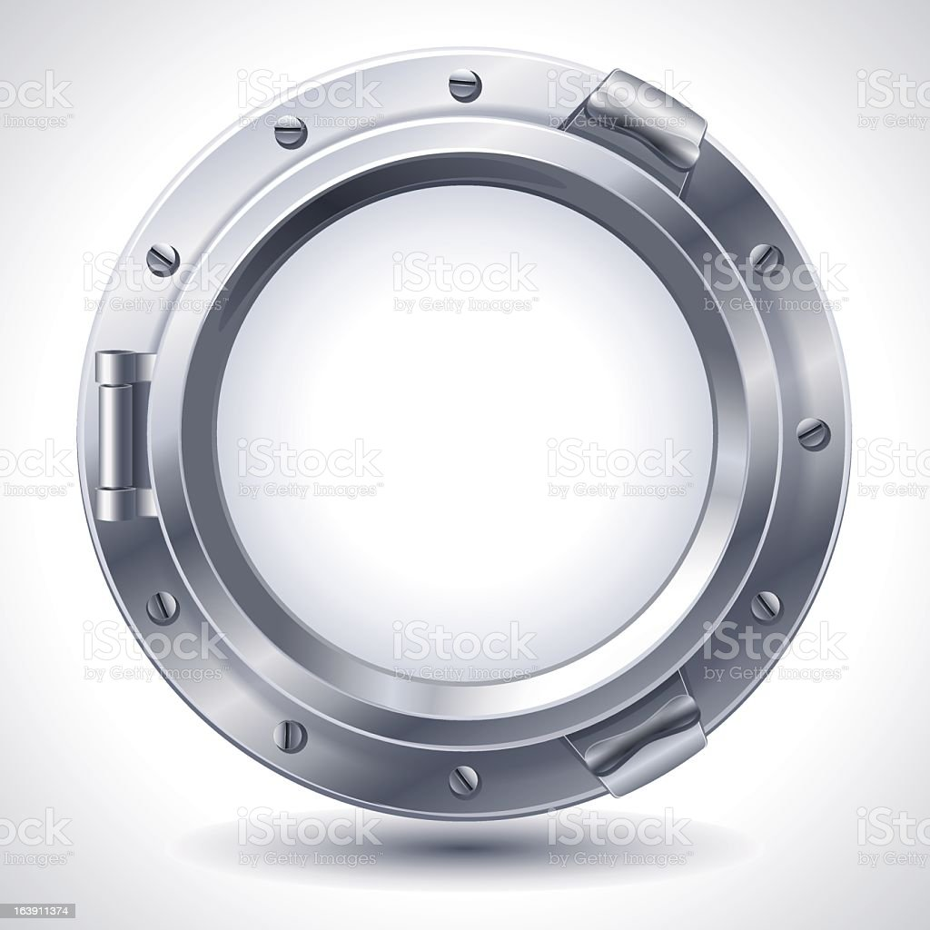 A white image of a porthole on a white background royalty-free stock vector art