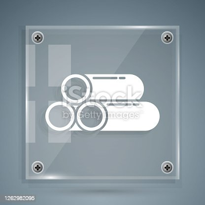istock White Industry metallic pipe icon isolated on grey background. Plumbing pipeline parts of different shapes. Square glass panels. Vector Illustration 1262982095