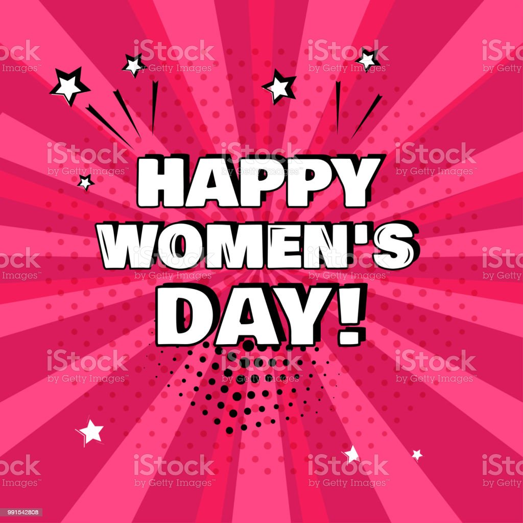 Yazıt Mutlu Kadınlar Günü Pembe Bir Arka Plan üzerinde Beyaz Komik