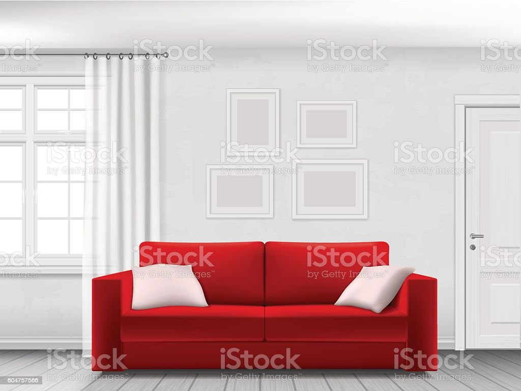 White interior and red sofa ベクターアートイラスト