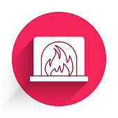 White Interior fireplace icon isolated with long shadow. Red circle button. Vector Illustration