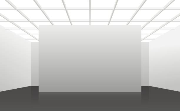 White interior of not existing building with black floor and square cellular ceiling. Vector 3d illustration. White interior of not existing building with black floor and square cellular ceiling and top light in perspective. Symmetrical view. Place for text. showroom stock illustrations