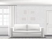 Realistic vector interior of living room with white sofa, window and door.