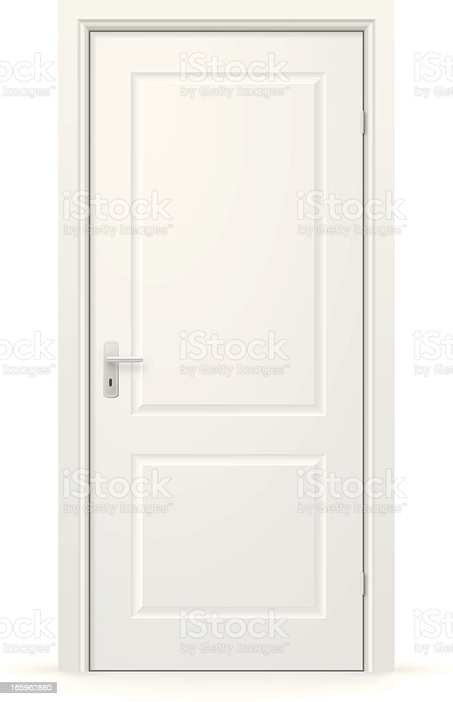 A white, internal door which is closed vector art illustration