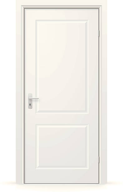 A white, internal door which is closed Closed door isolated on white background. front door stock illustrations