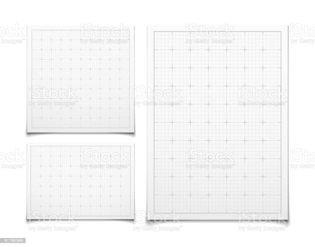 White isolated square grid set with shadow vector art illustration