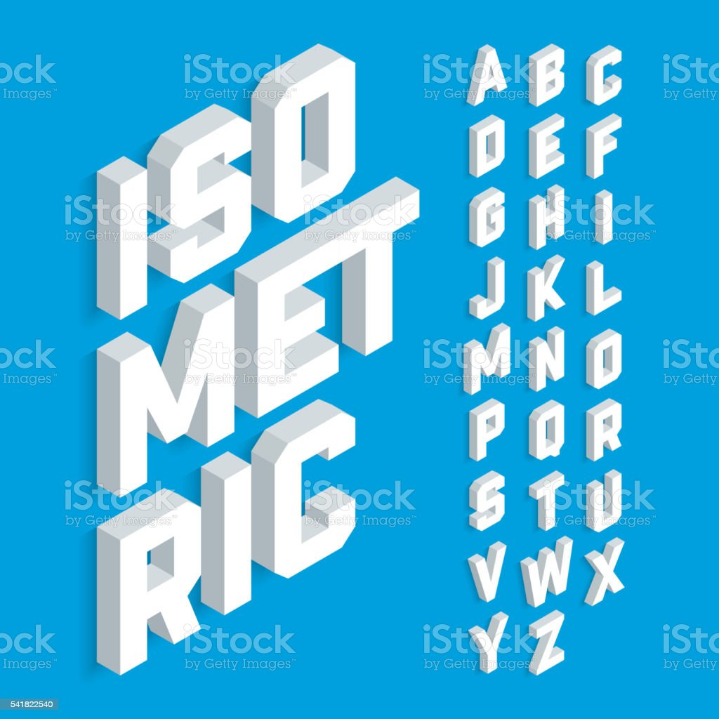 White isometric 3d font vector art illustration