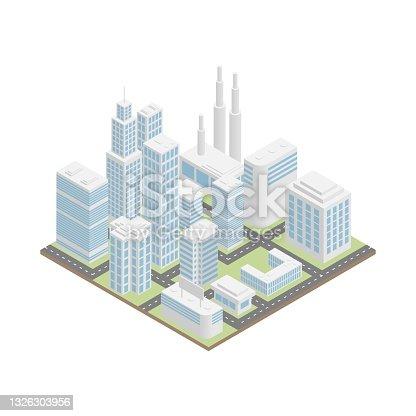 White isometric city