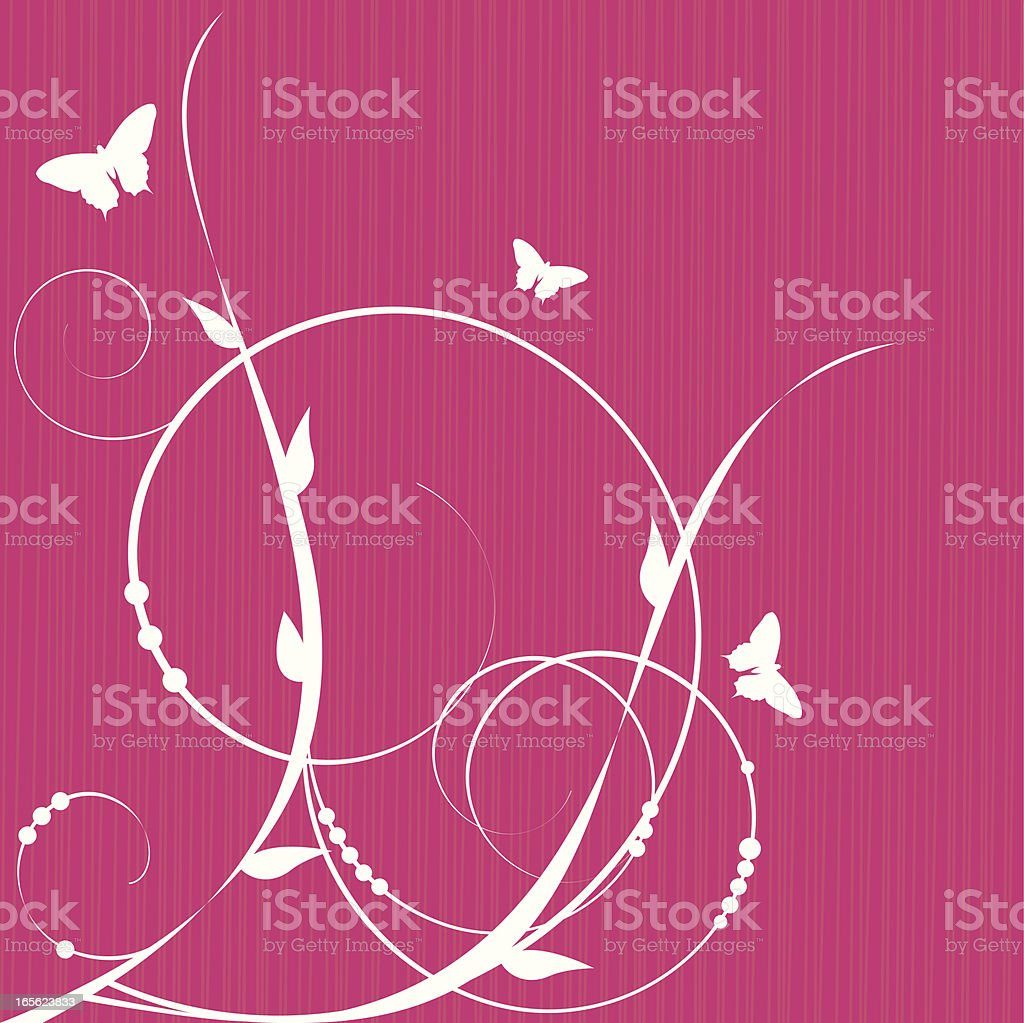 White ivy tendrils and butterflies on hot pink background royalty-free stock vector art