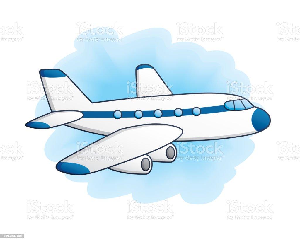 White jet airplane. vector art illustration