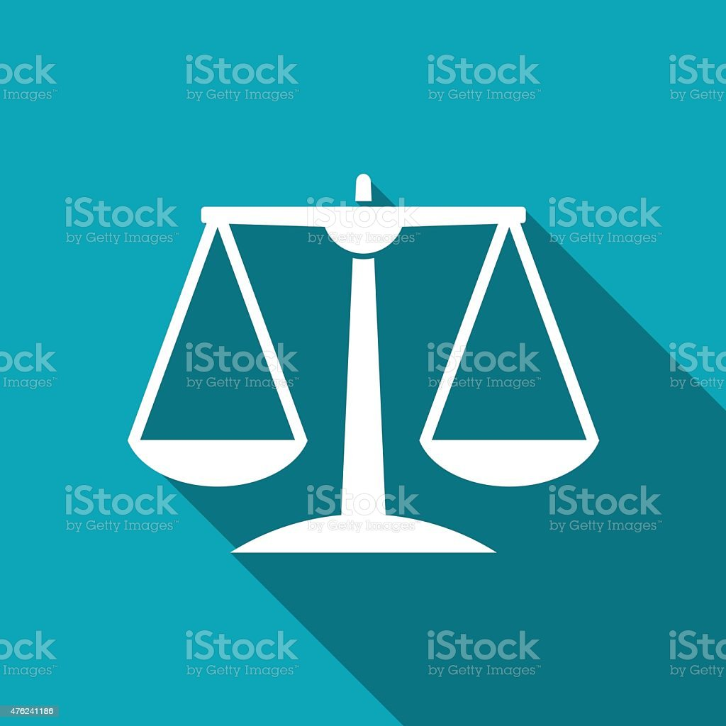 White Justice scale icon vector art illustration