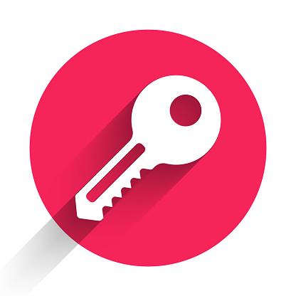 White Key icon isolated with long shadow. Red circle button. Vector Illustration