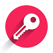 istock White Key icon isolated with long shadow. Red circle button. Vector Illustration 1250724789