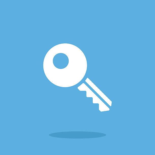 White key icon. Vector key pictogram. Vector illustration White key icon. Vector key pictogram. Vector illustration isolated on blue background car key stock illustrations