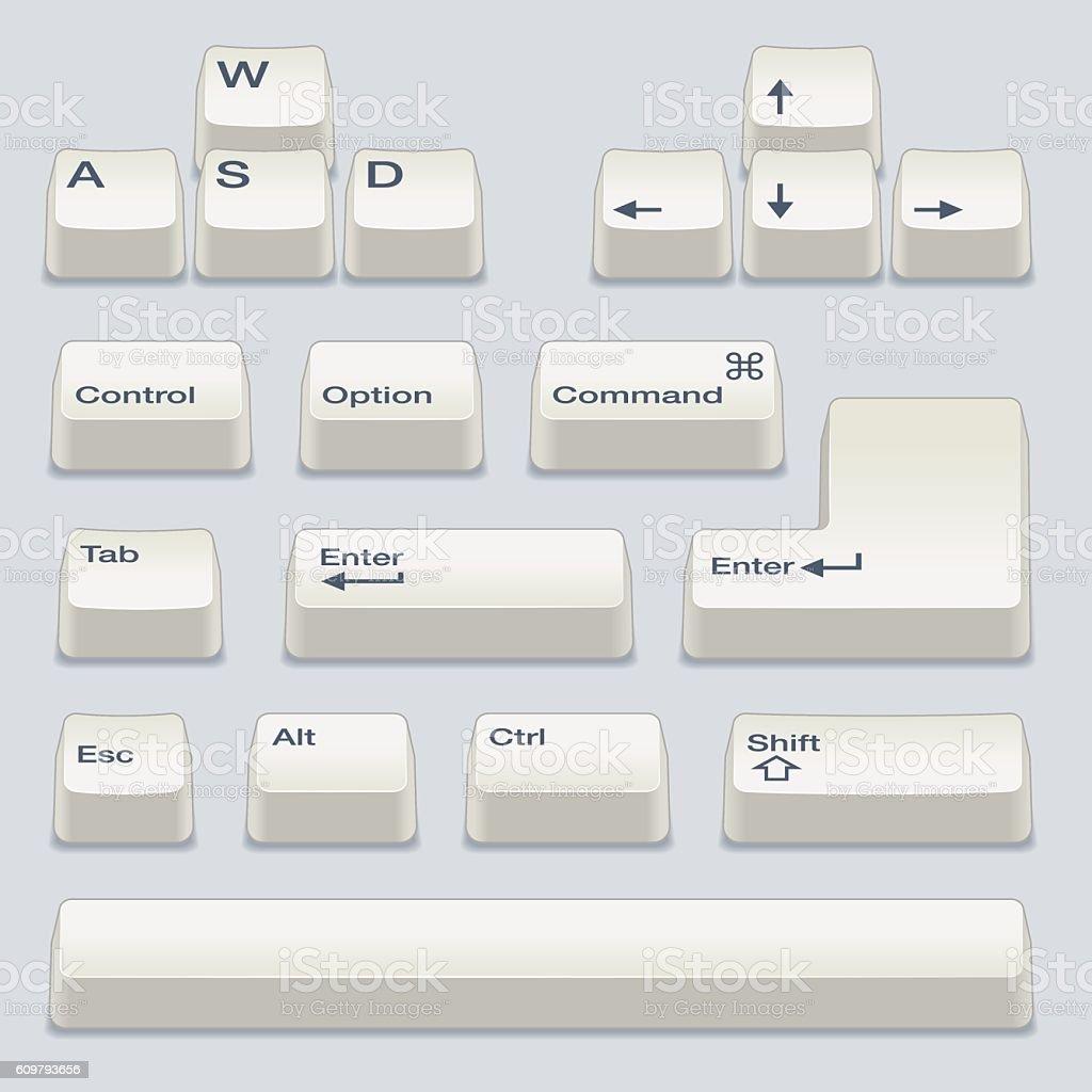White Keyboard Keys vector art illustration